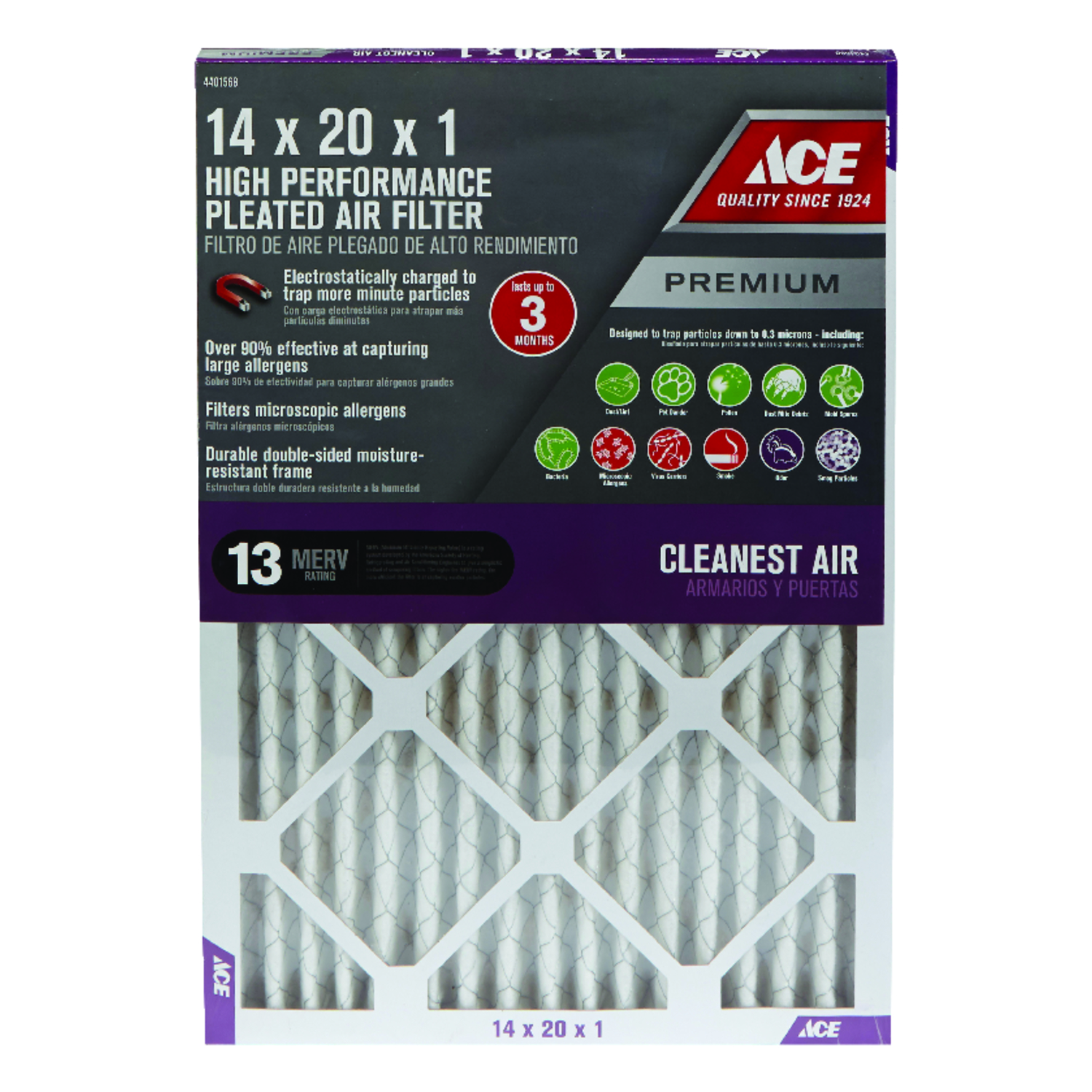 Ace  20 in. H x 14 in. W x 1 in. D Pleated  Air Filter