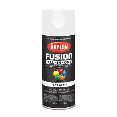Krylon  Fusion All-In-One  Flat  White  Paint + Primer Spray Paint  12 oz.