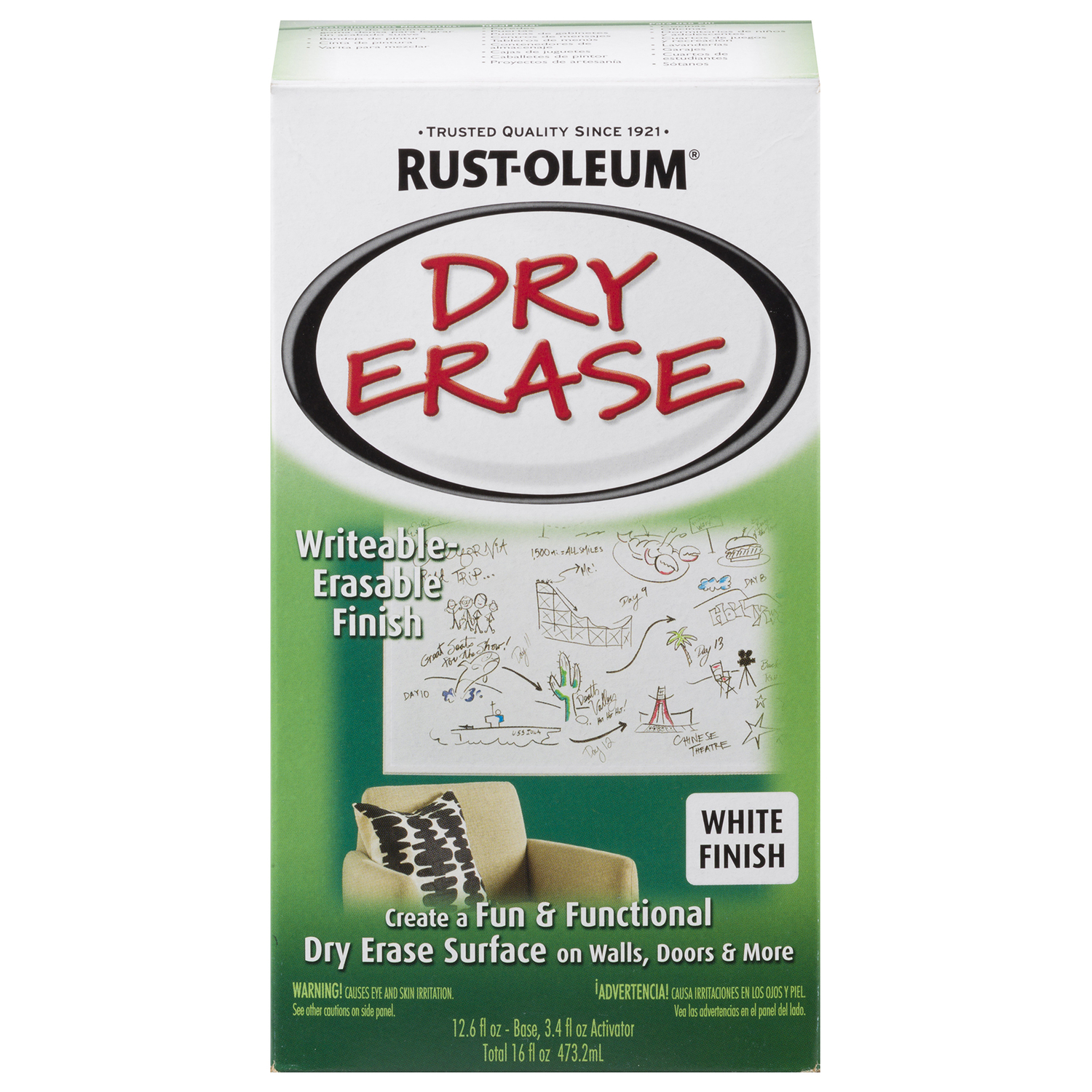 Rust-Oleum  White  Dry Erase Paint Kit  Gloss  27 oz.