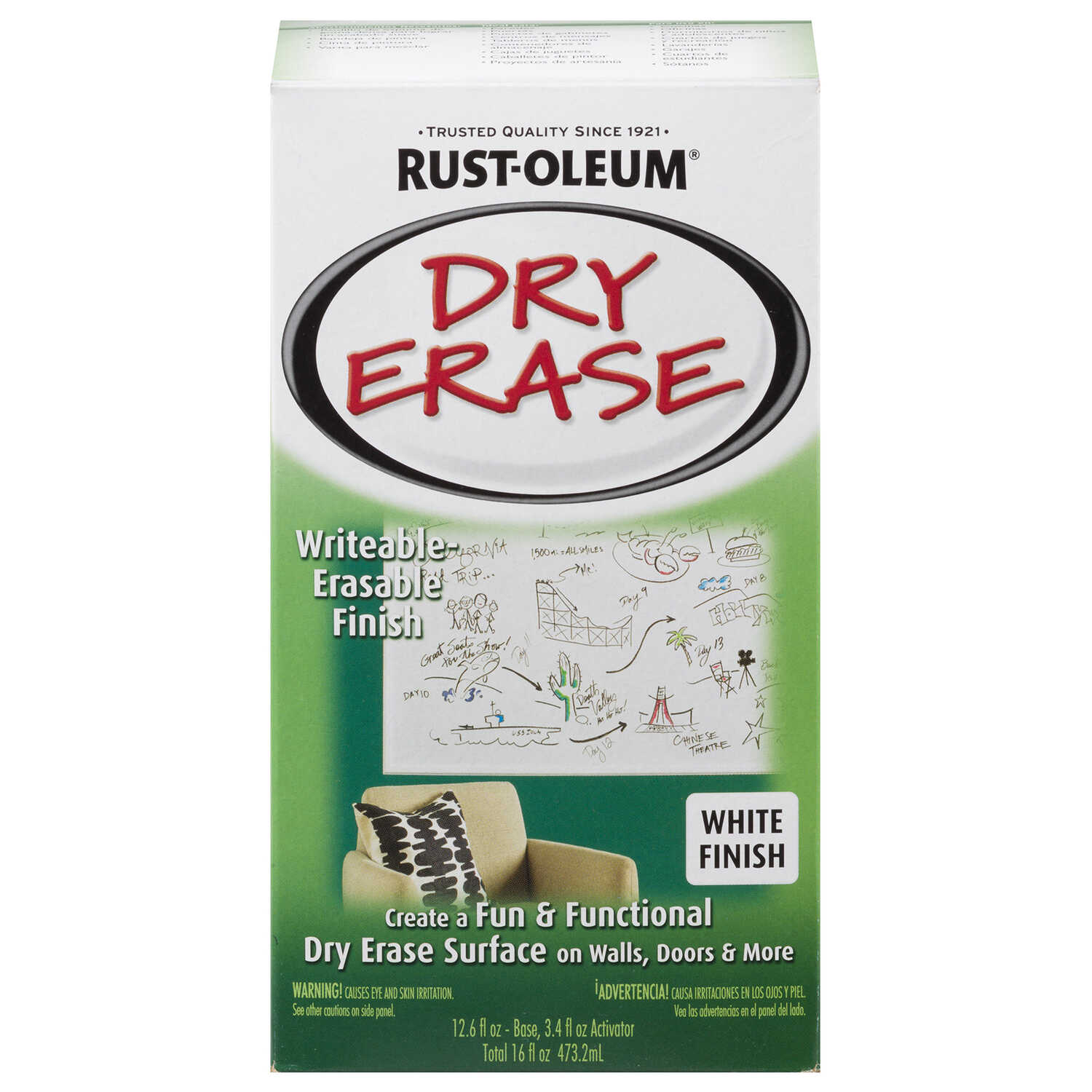 Rust-Oleum  White  Dry Erase Paint Kit  Gloss  16 oz.