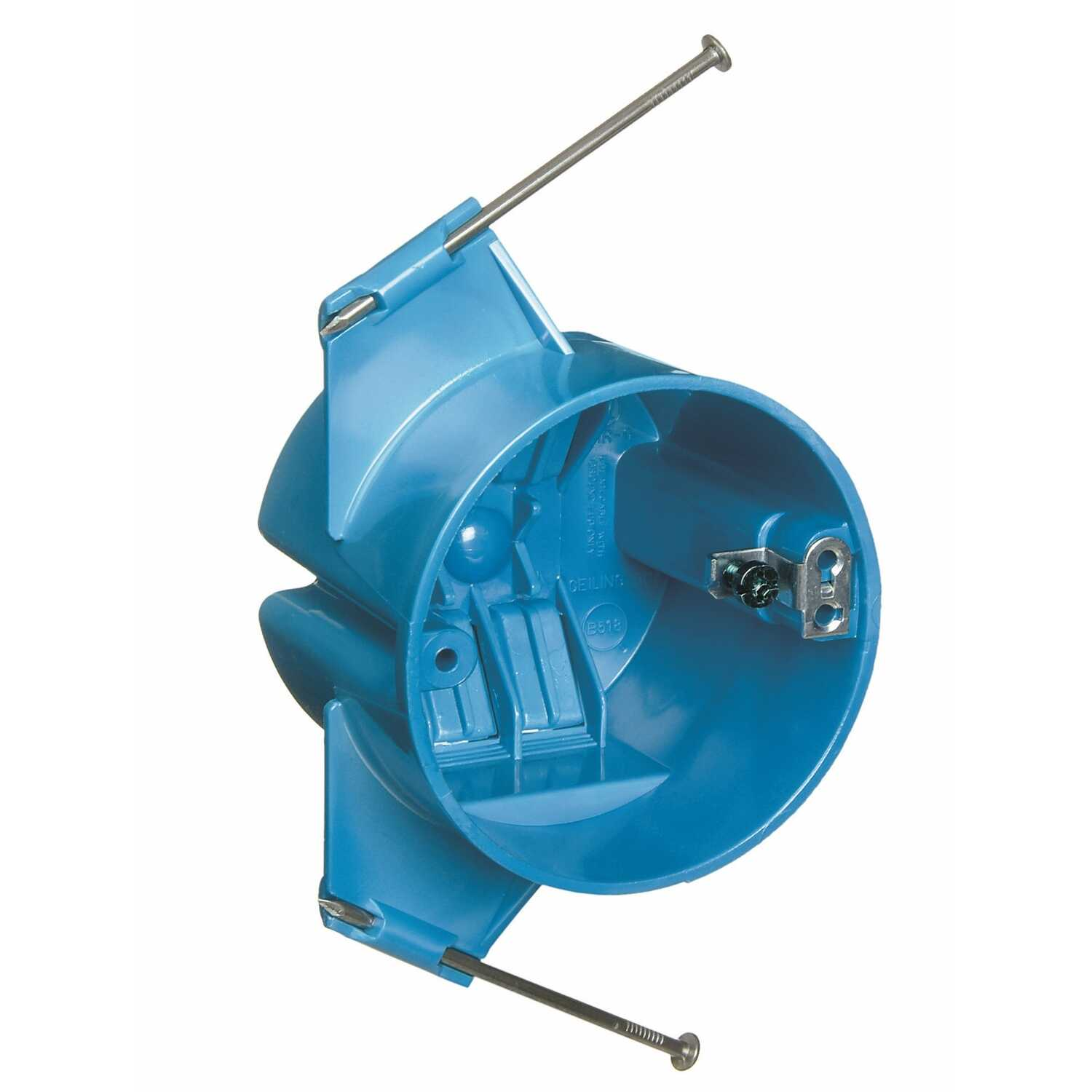 Carlon  3-1/2 in. Round  1 Gang  1 gang Electrical Ceiling Box  Blue  PVC