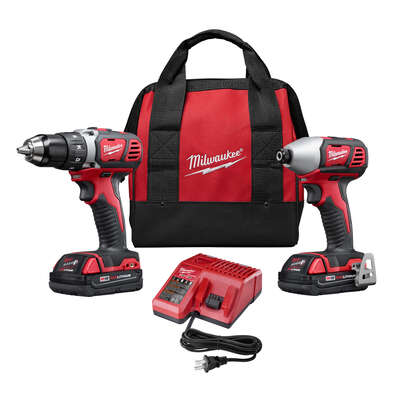 Milwaukee M18 18 volt 1.5 amps Cordless Brushed 2 tool Drill/Driver and Impact Driver Combo Kit
