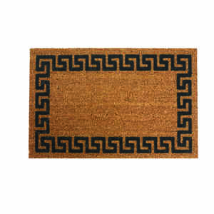 DeCoir  Greek Key  Tan/Black  Coir  Nonslip Door Mat  18 in. L x 30 in. W