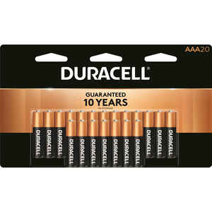 Duracell  Coppertop  AAA  Alkaline  Batteries  1.5 volt 20 pk Carded