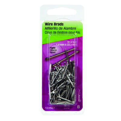 Hillman  17 Ga.  x 7/8 in. L Bright  Steel  Brad Nails  1 pk 2 oz.