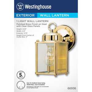 Westinghouse  Polished Brass  Clear  Incandescent  Wall Lantern