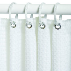 Zenna Home 72 in. H x 70 in. W White Waffle Shower Curtain Fabric