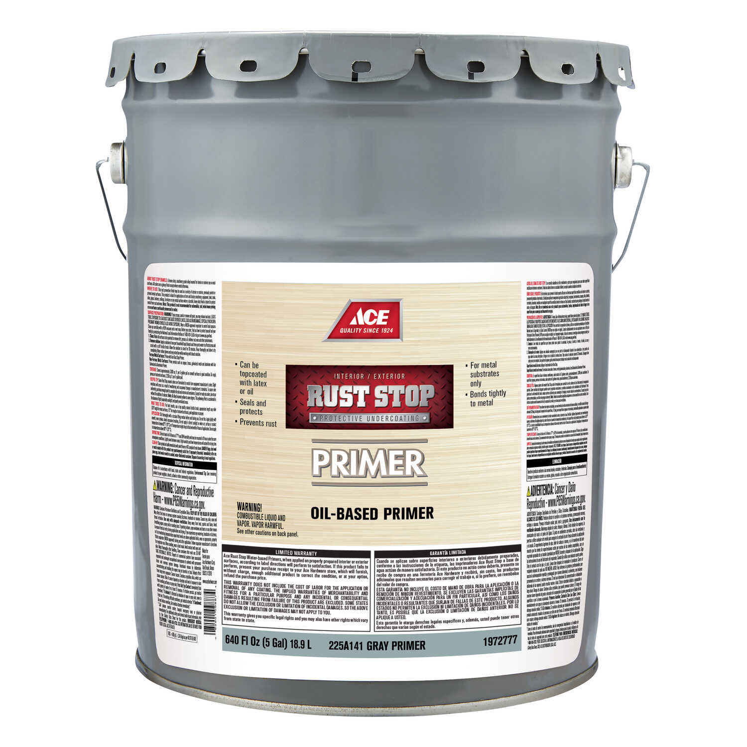 Ace  Rust Stop  Flat  Grey  Alkyd Resin  Oil Primer  For Clean Metals 5 gal.