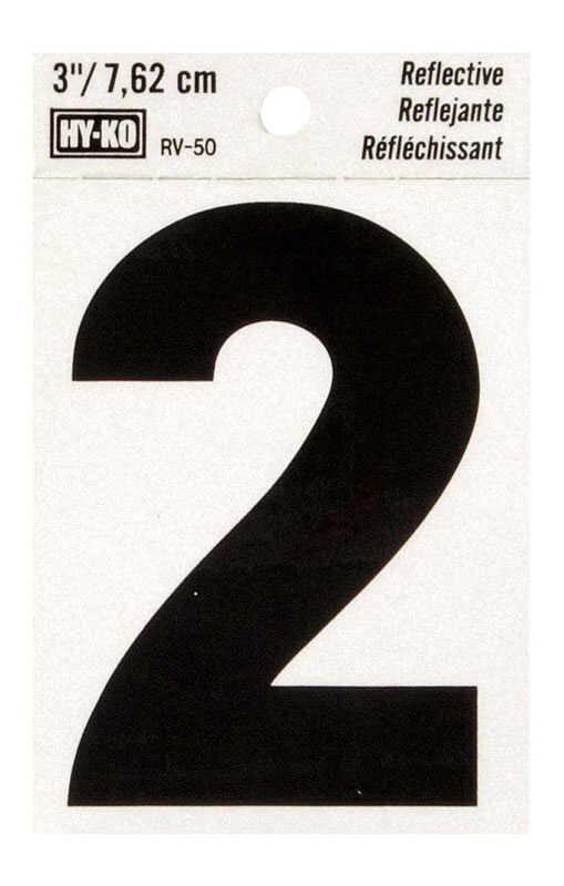Hy-Ko  3 in. Vinyl  2  Black  Self-Adhesive  Number  Reflective