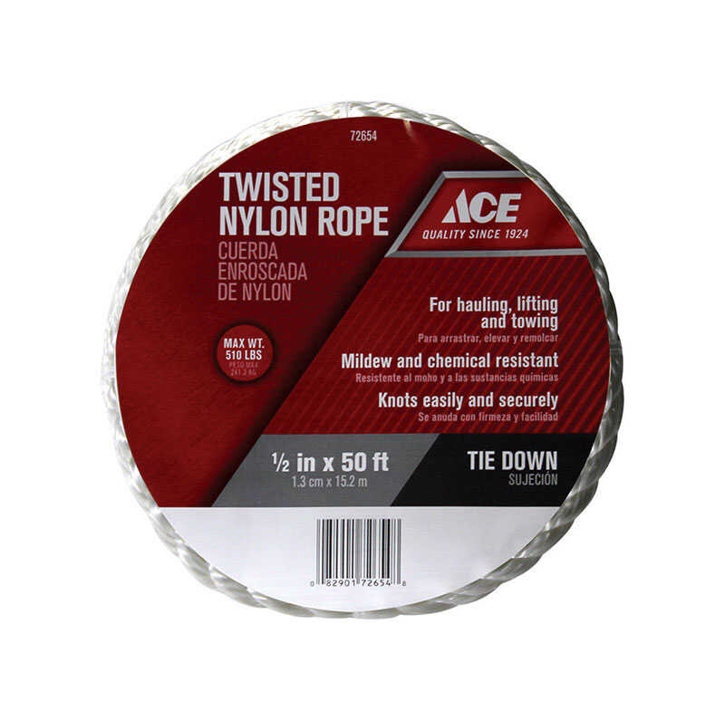 Ace  50 ft. L x 1/2 in. Dia. White  Twisted  Nylon  Rope