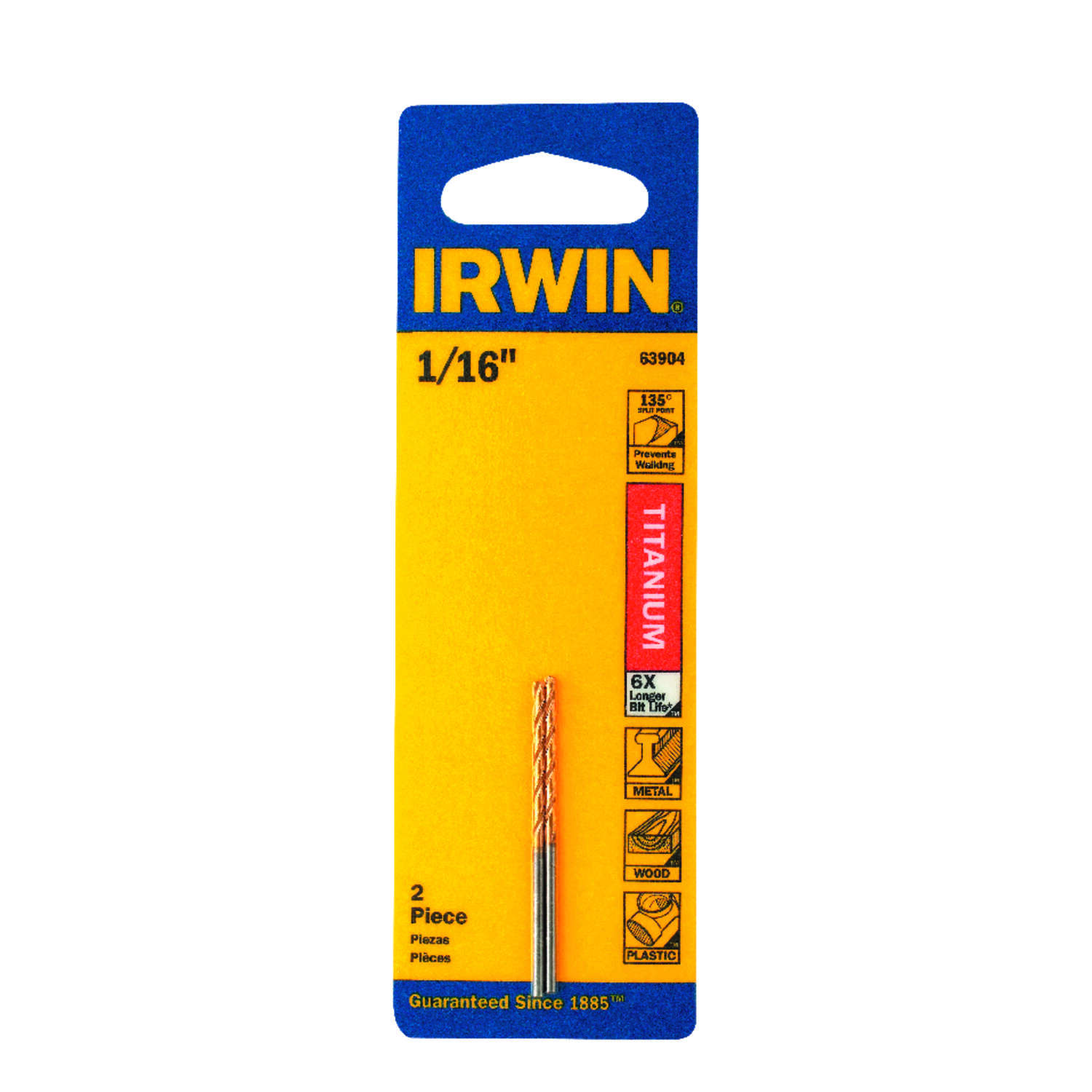 Irwin  1/16 in.  x 1-7/8 in. L High Speed Steel  Drill Bit Set  2 pc.