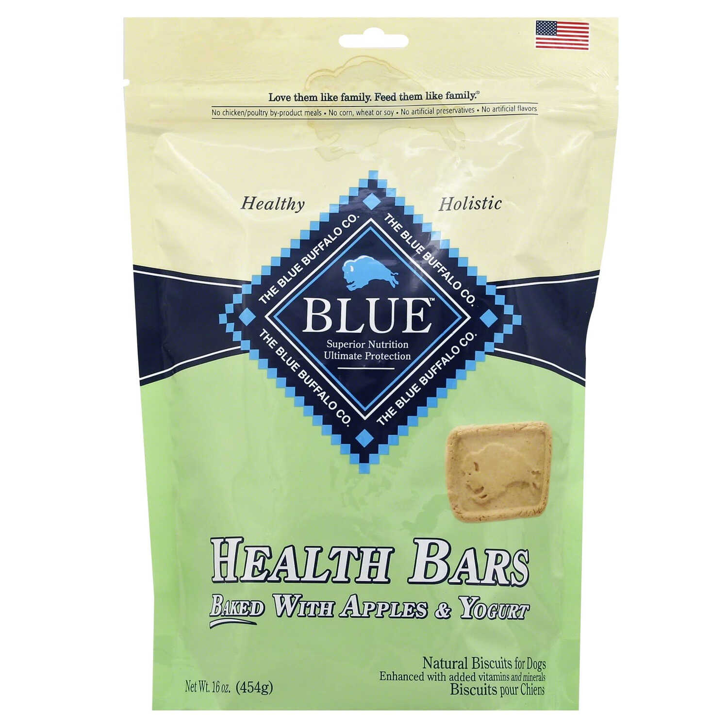 Blue Buffalo  Blue Wilderness Health Bars  Apples and Yogurt  Dog  Biscuit  1 pk 16 oz.