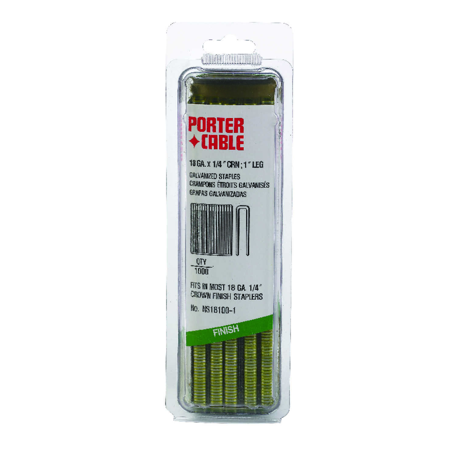 Porter Cable  1 in. L x 1/4 in. W Galvanized Steel  Narrow Crown  Staples  18 Ga. 1000 EA
