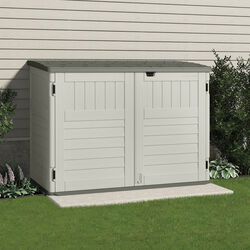 Suncast  The Stow-Away  4 ft. H x 3.7 ft. W x 5.9 ft. D Vanilla  Resin  Horizontal Storage Shed