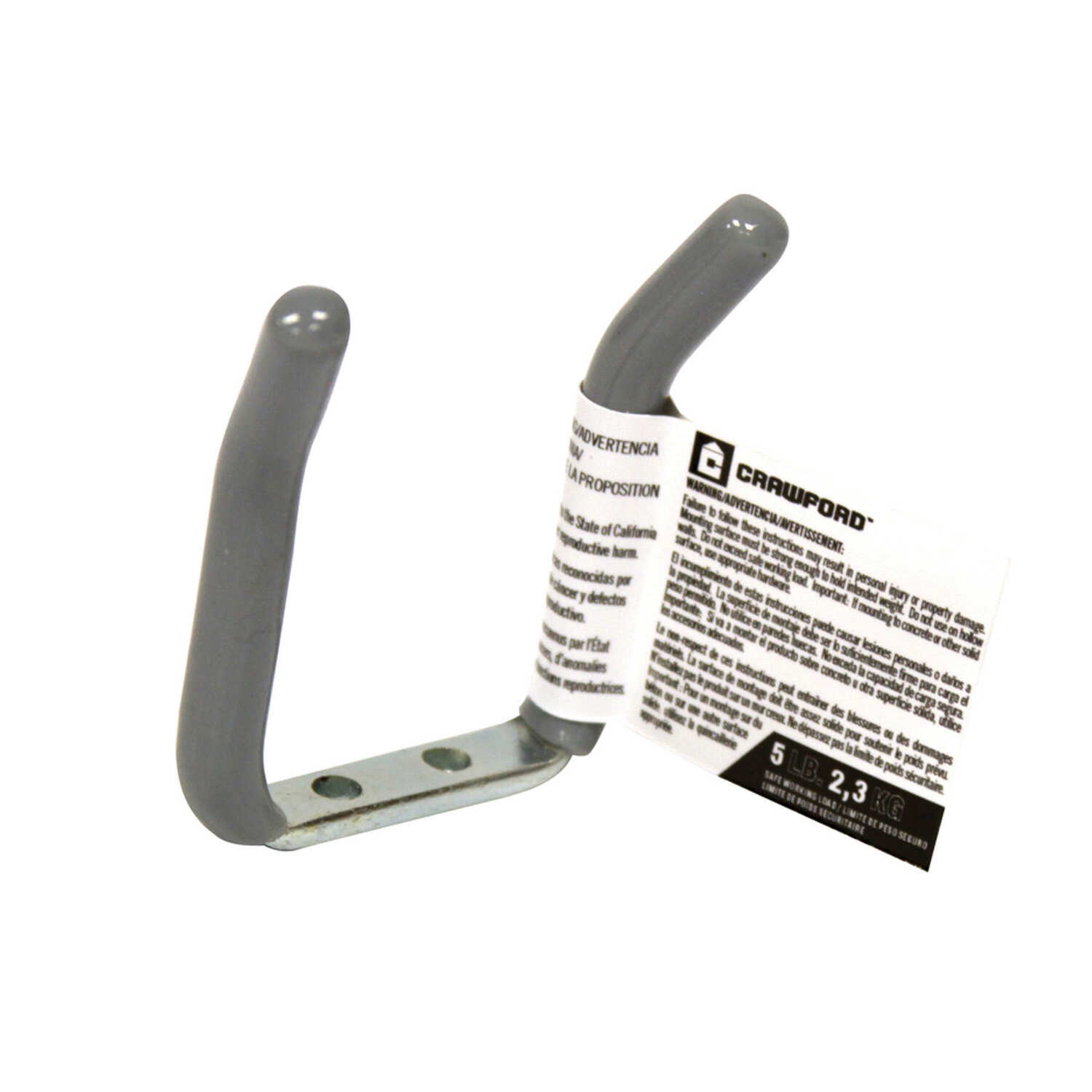 Crawford  Vinyl Coated  Gray  Steel  Small  Storage  Hook  5 lb. 1 pk
