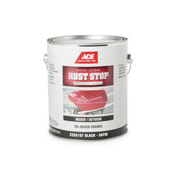 Ace  Rust Stop  Indoor and Outdoor  Satin  Black  Rust Prevention Paint  1 gal.