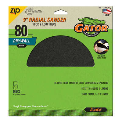 Gator  9 in. Silicon Carbide  Hook and Loop  Drywall  Sanding Disc  80 Grit Medium  5 pk