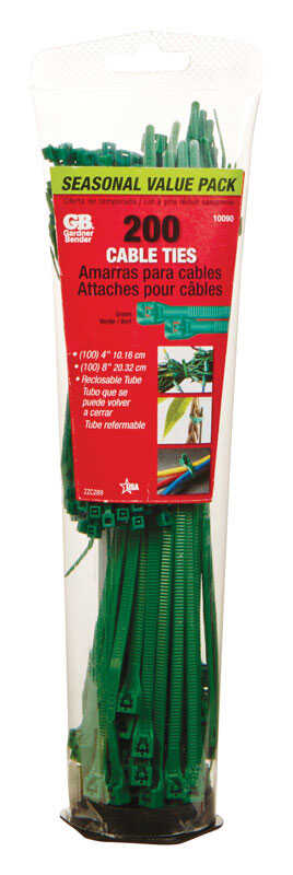 Gardner Bender  4, 8 in. L Green  Cable Tie  200 pk