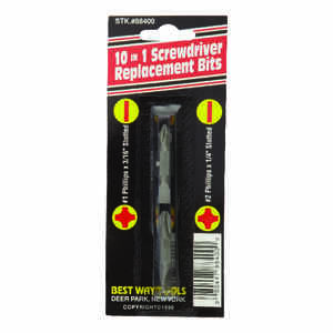 Best Way Tools  Phillips/Slotted  Multi Size   x 2 in. L 1/4 in. Hex  2 pc. Double Ended Screwdriver