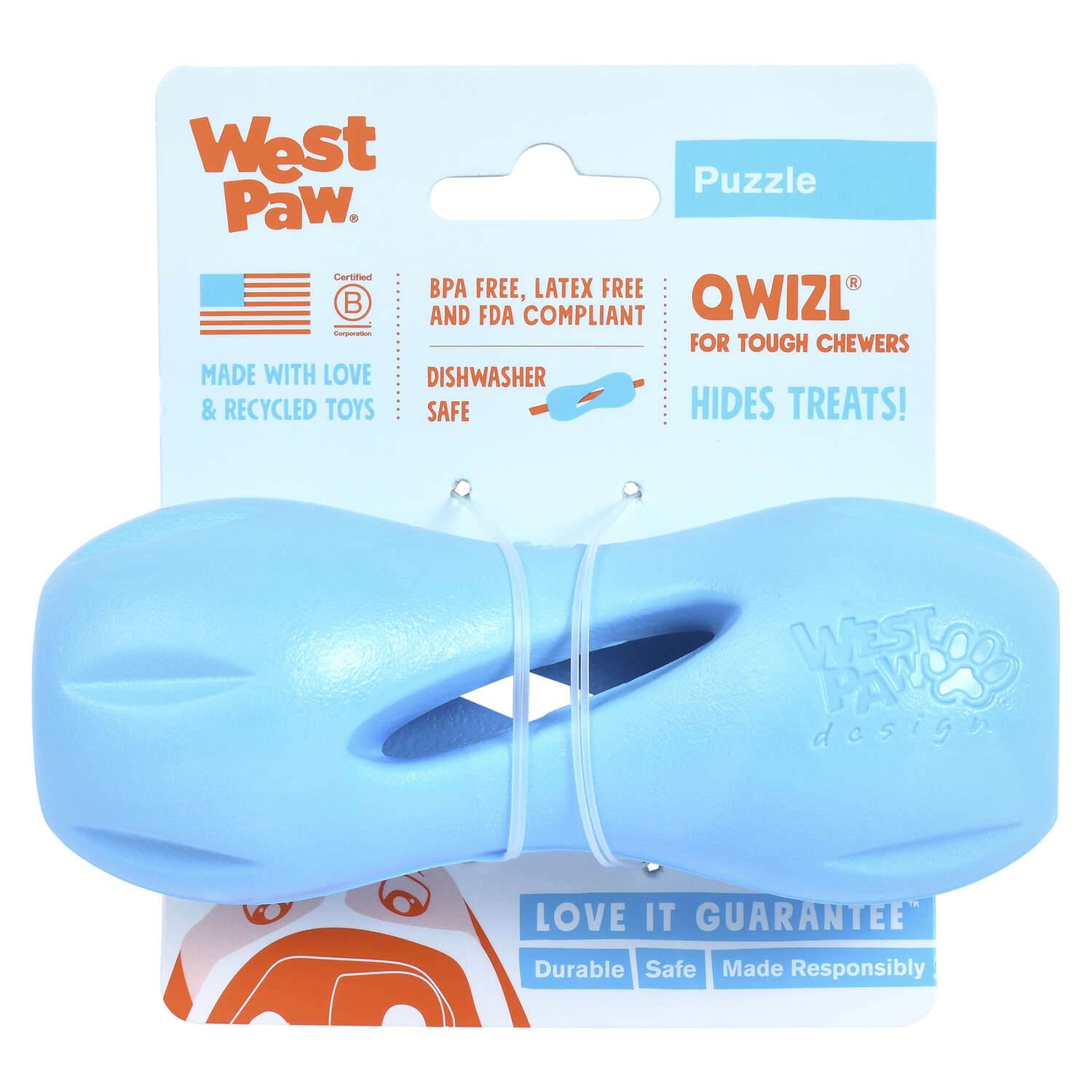 West Paw  Zogoflex  Blue  Qwizl Treat Toy  Synthetic Rubber  Small  Dog Treat Toy/Dispenser