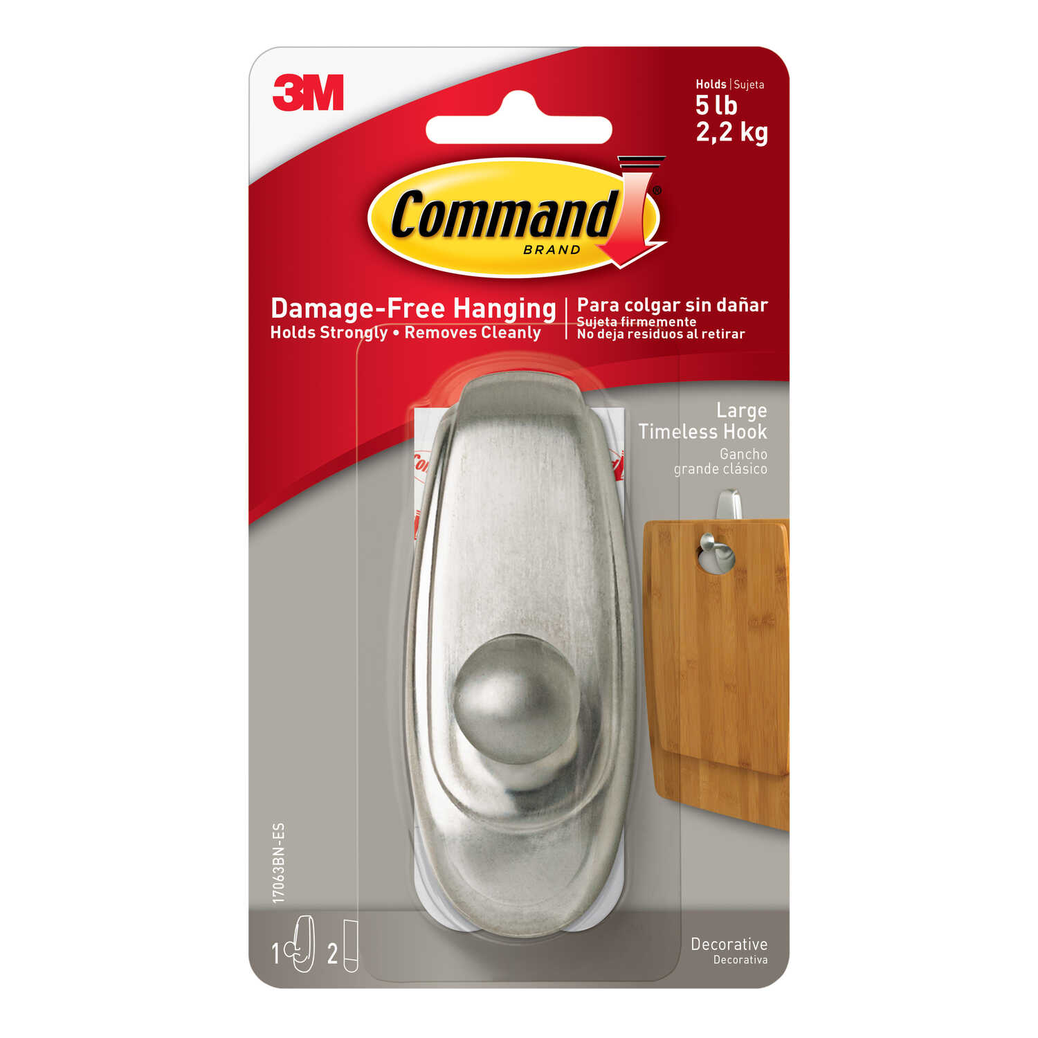 3M  Command  Large  Plastic  Hook  4 in. L 1 pk