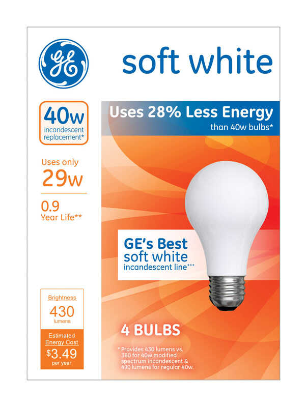 GE Lighting  29 watts A19  Halogen Bulb  430 lumens Soft White  4 pk Medium Base (E26)  A-Line