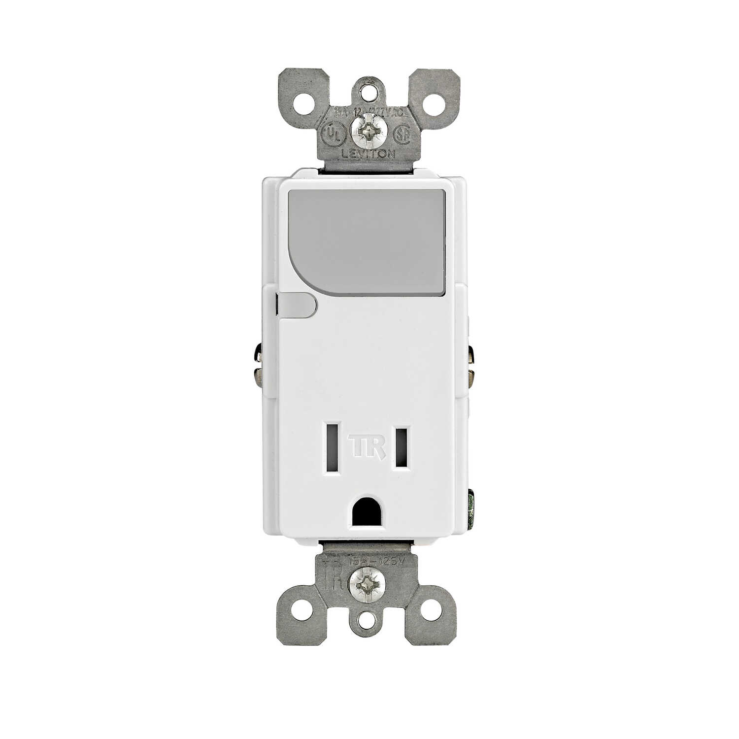 Leviton  Decora  15 amps 125 volt White  Combination Switch/Outlet  5-15R  1 pk