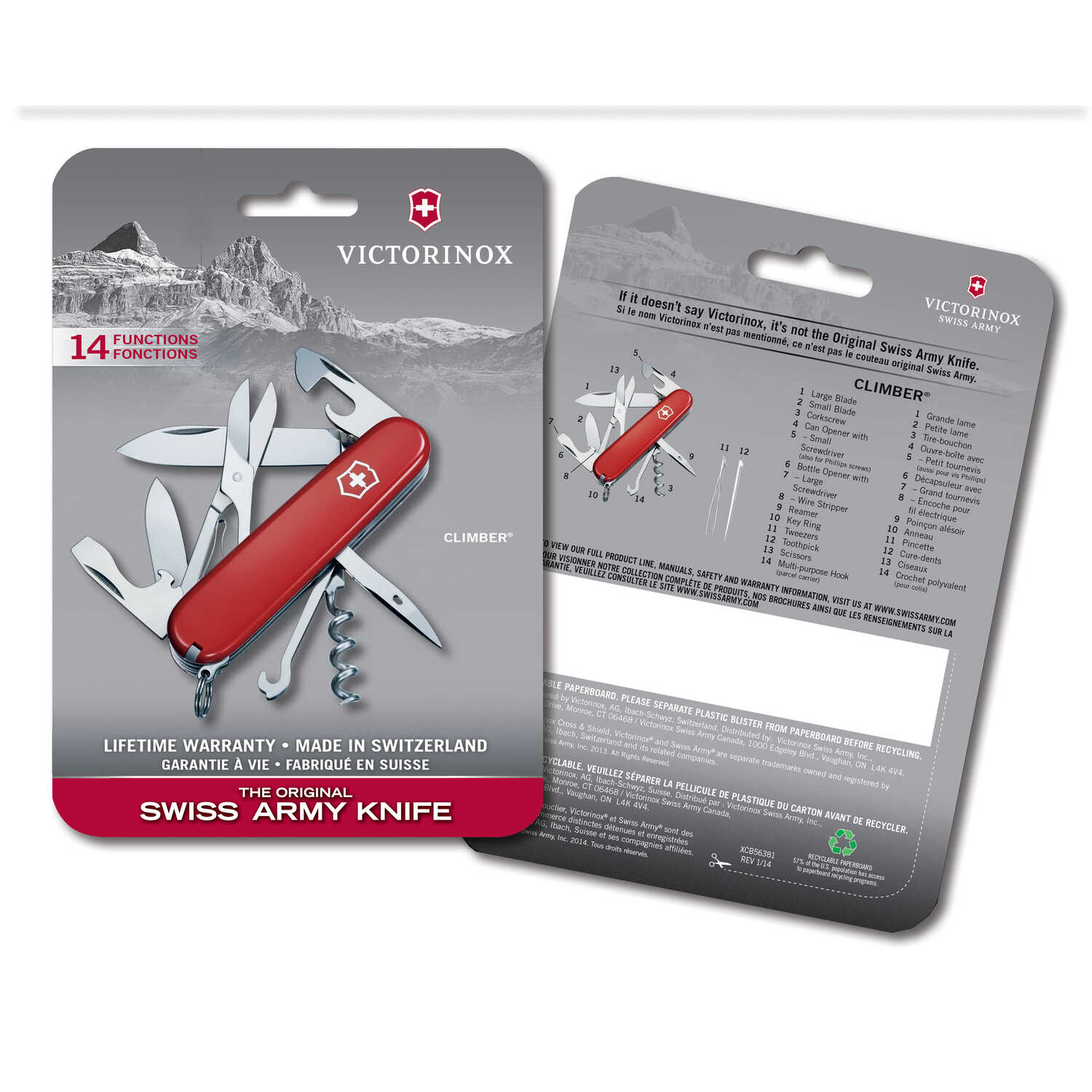 Victorinox Swiss Army Climber Red Stainless Steel 3 5 In