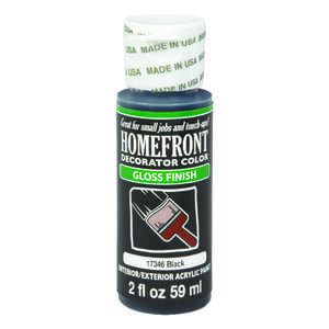 Homefront  Decorator Color  Gloss  Black  Acrylic Latex  Hobby Paint  2 oz.