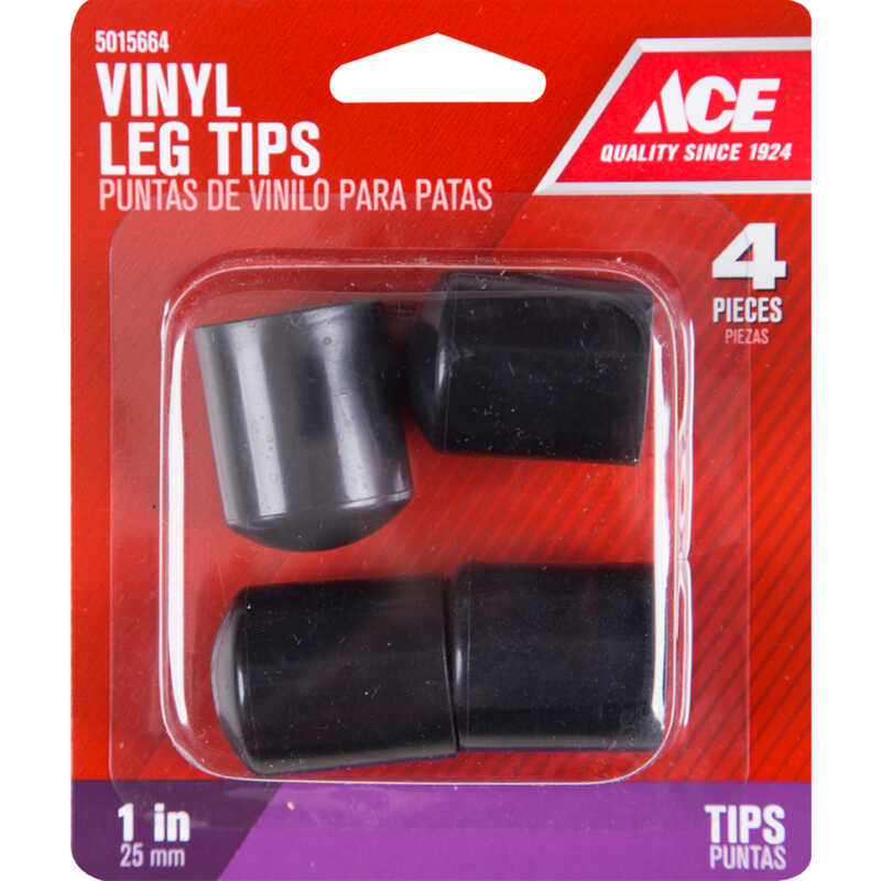 Ace  Vinyl  Leg Tip  Black  Round  1 in. W 4 pk