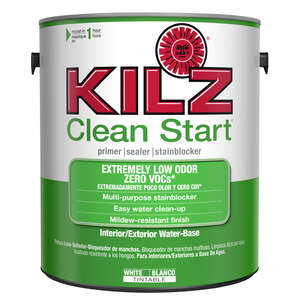 Kilz  Clean Start  White  Water-Based  Primer and Sealer  For Woodwork, Drywall, Plaster, Paneling,