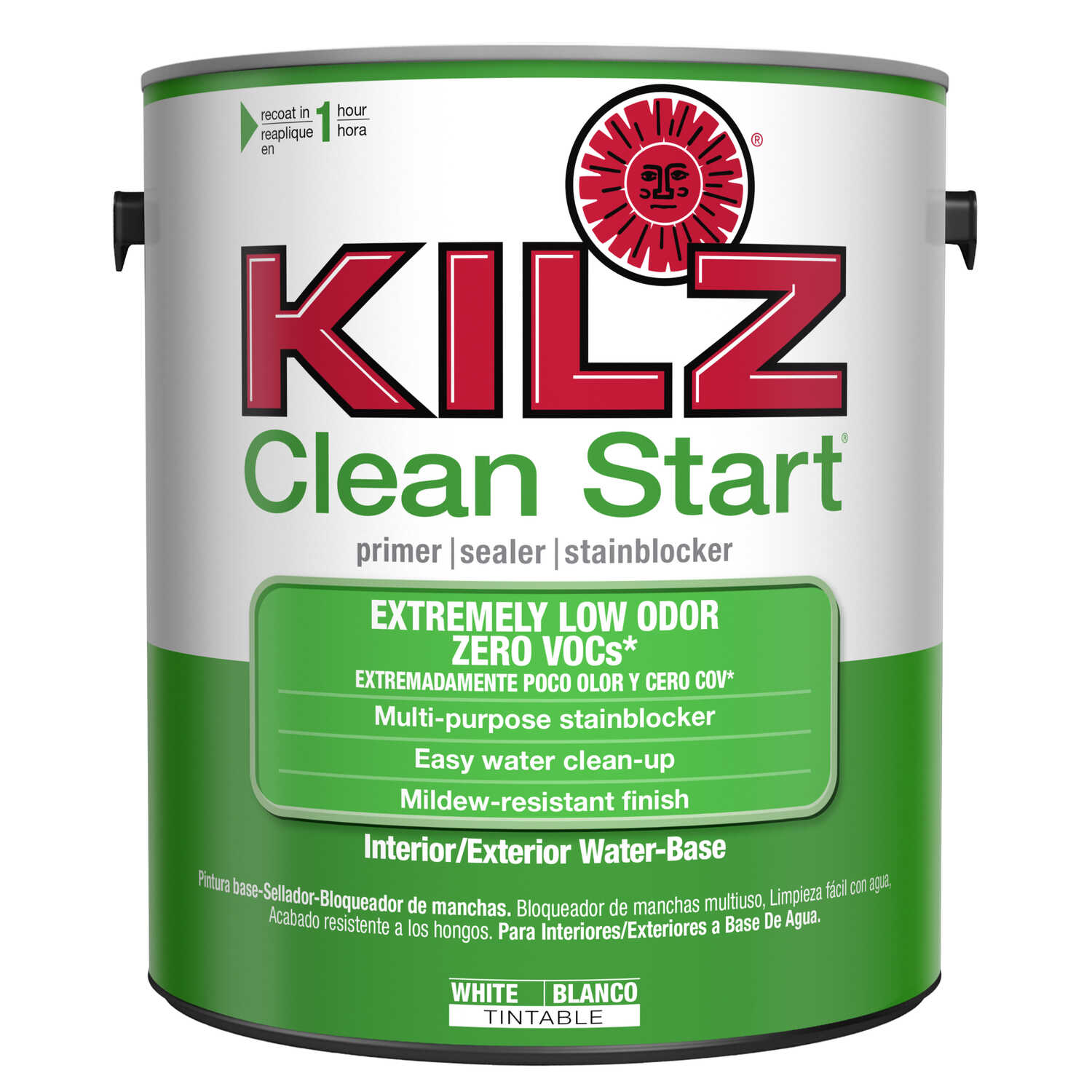 Kilz  Clean Start  Flat  White  Water-Based  Primer and Sealer  For All Surfaces 1 gal.