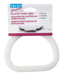 Decko Chrome Silver/White Towel Ring Plastic/Steel