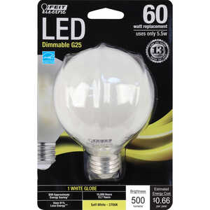 FEIT Electric  5.5 watts G25  LED Bulb  500 lumens Soft White  60 Watt Equivalence Globe