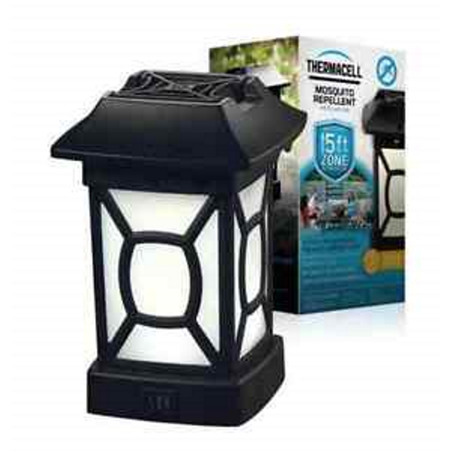Thermacell Insect Repellent Lantern For Mosquitoes/Other Flying Insects 1.7 oz. The Thermacell Mosquito Repeller Cambridge Lantern effectively repels mosquitoes, black flies and other biting insects by creating a 15 x 15-feet zone of protection for bug-free comfort. Its ambient light and decorative design perfectly adorn your deck or patio. Ideal for use while you are gardening, observing outdoor sporting events and hanging around the backyard, Thermacell Lanterns have been evaluated by the EPA for safety and effectiveness.