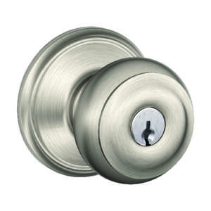 Schlage  Georgian  Satin Nickel  Steel  Entry Lockset  ANSI Grade 2  1-3/4 in.