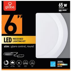 Globe Electric Ultra Slim Energy Star Frost White 6 inch in. W Metal LED Recessed Downlight 6