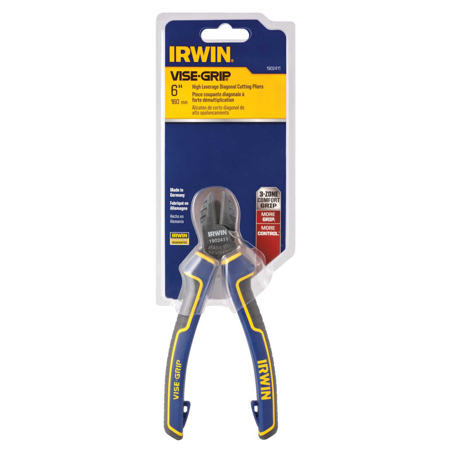 Irwin  Vise-Grip  6 in. Alloy Steel  Leverage Diagonal  Diagonal Pliers  Blue/Yellow  1 pk