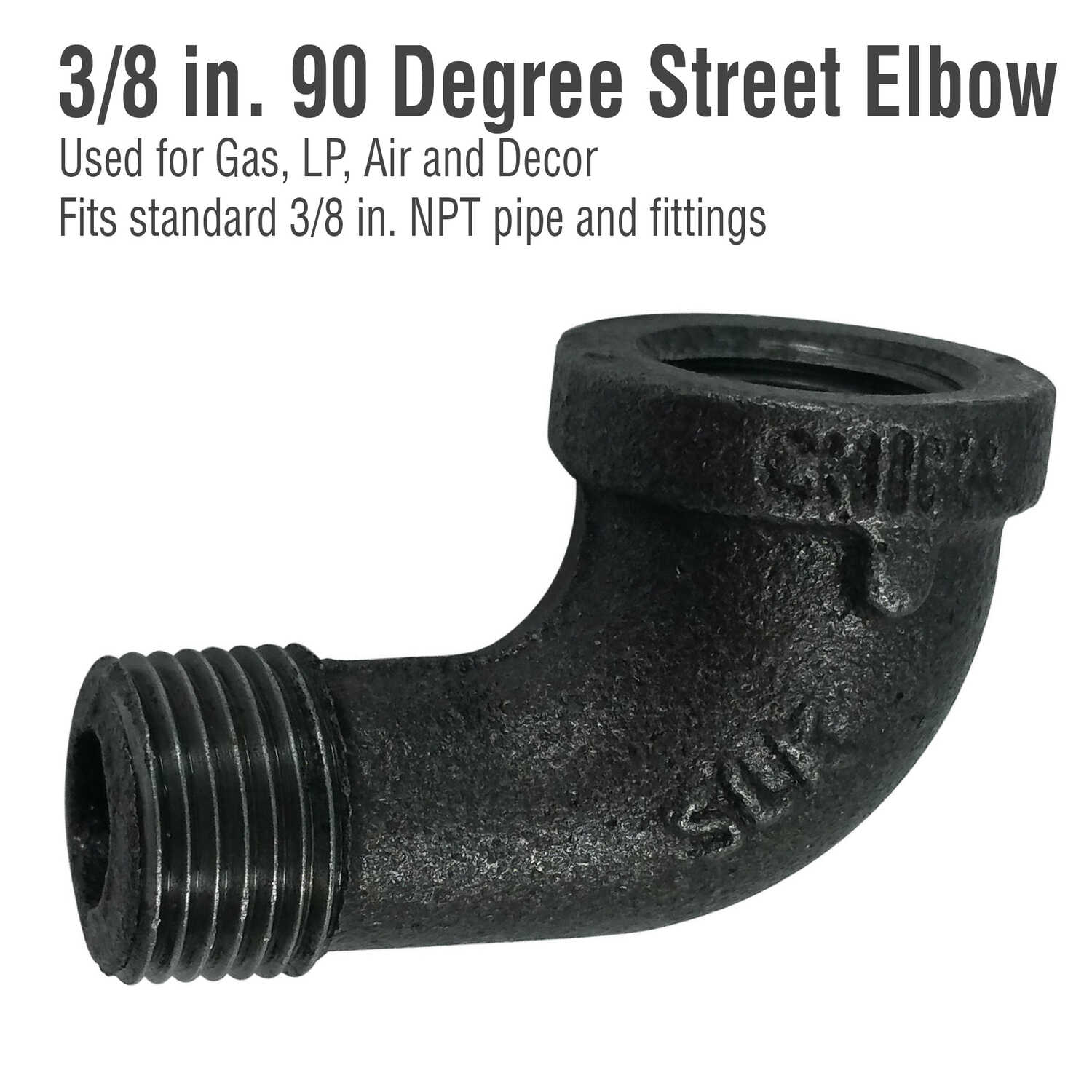 Pipe Decor  3/8 in. FIP   x 3/8 in. Dia. MPT  Black  Malleable Iron  Pipe Decor Street Elbow