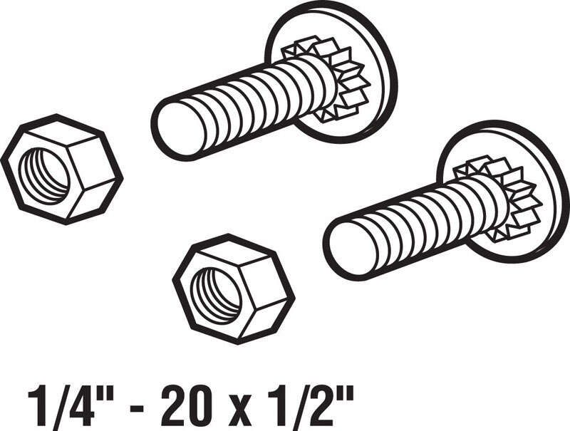 Prime-Line  3.8 in. W x 1/2 in. L x 1/4 in. Dia. Steel  Ribbed Neck Bolts w/Nuts