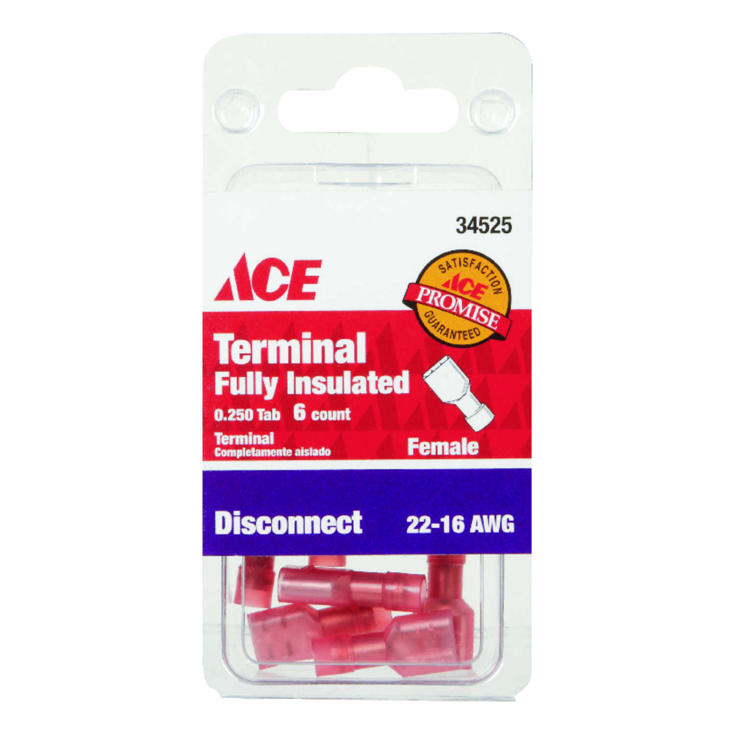 Ace  Insulated Wire  Female Disconnect  6 pk