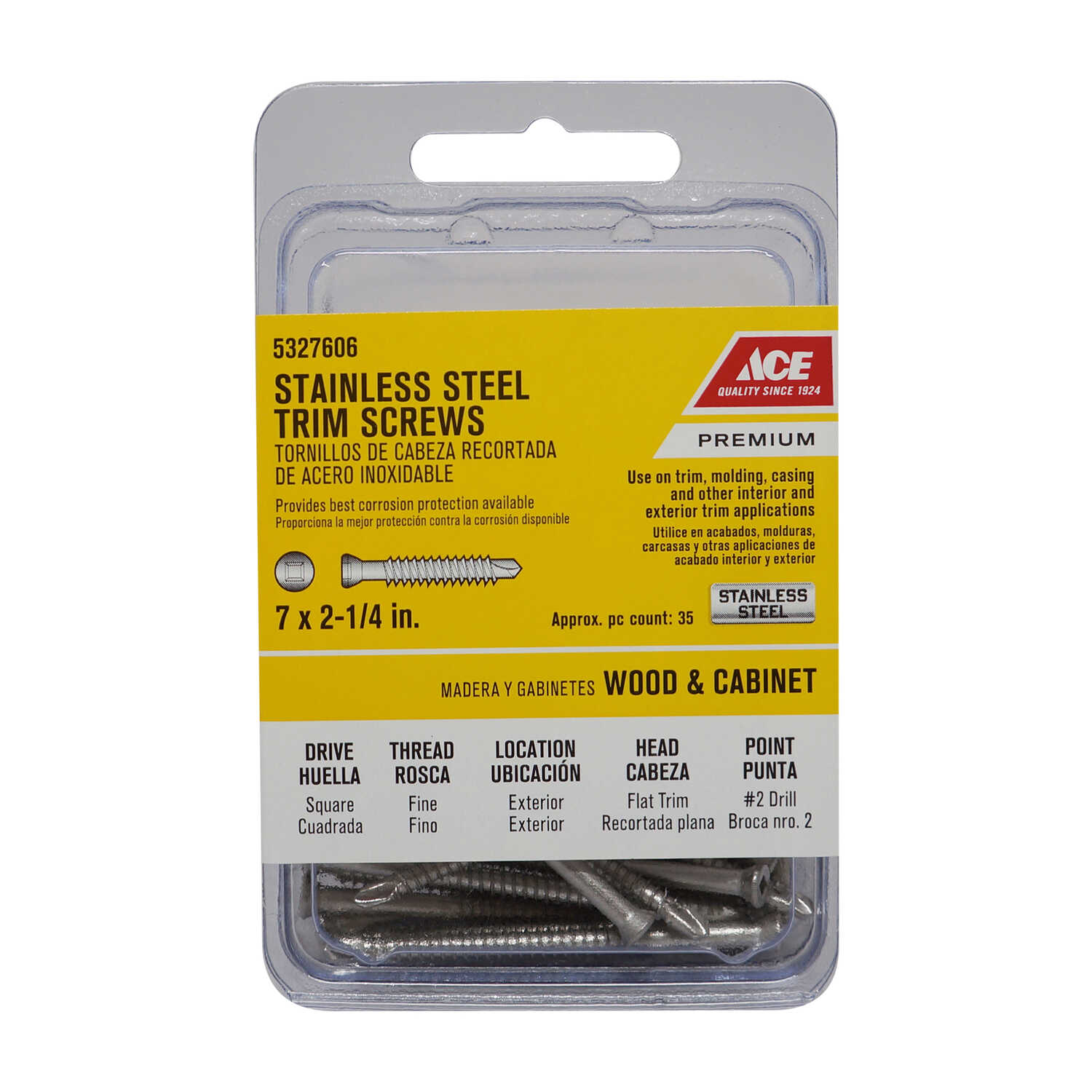 Ace  No. 7   x 2-1/4 in. L Square  Trim Head Stainless Steel  Trim Screw  35 pk