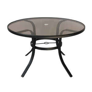 Living Accents  Brown  Round  Glass  Table
