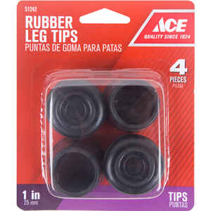 Ace  Rubber  Leg Tip  Black  Round  1 in. W 4 pk