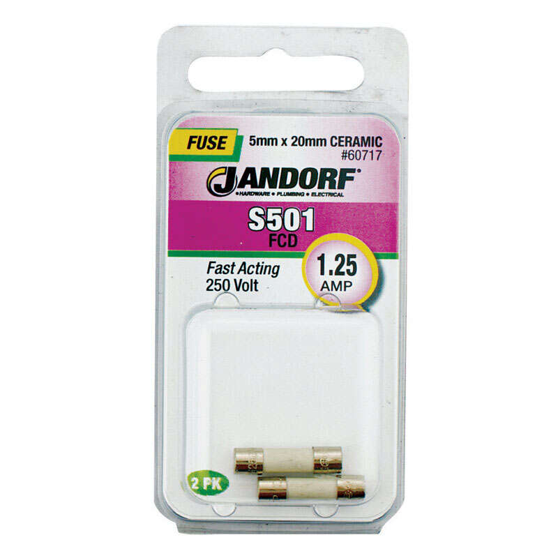 Jandorf  S501  1.25 amps 250 volts Ceramic  Fast Acting Fuse  2 pk