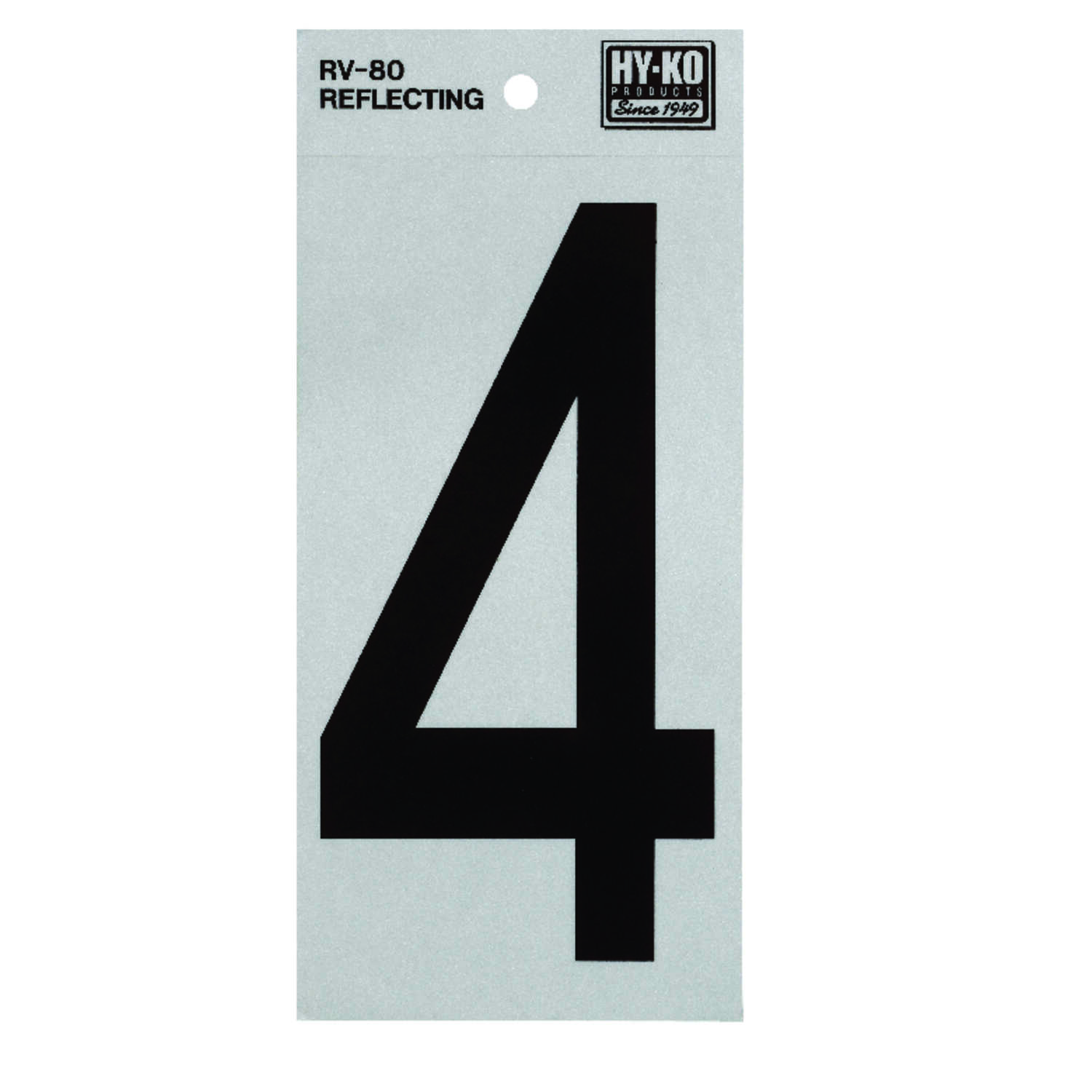 Hy-Ko  Reflective Vinyl  6 in. 4  Number  Self-Adhesive  Black