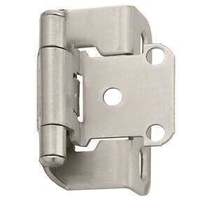 Amerock  1-1/2 in. W x 2-1/4 in. L Satin Nickel  Steel  Self-Closing Hinge  2