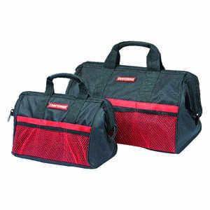 Craftsman  18 in. W x 13, 18 in. H Ballistic Nylon  Tool Bag Set  12 pocket Black  2 pc.