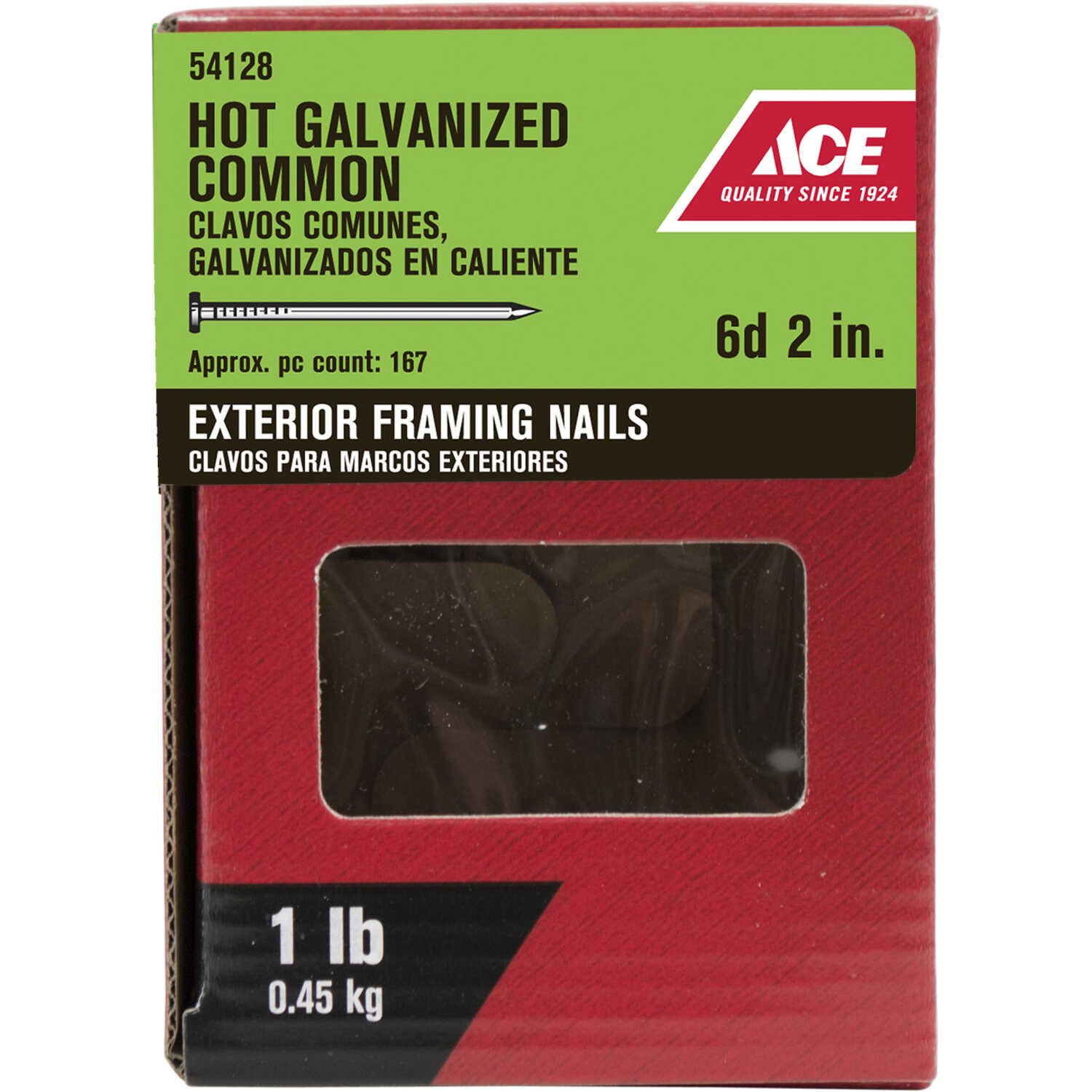 Ace  6D  2 in. L Common  Hot-Dipped Galvanized  Steel  Nail  Smooth Shank  Flat  1 lb.