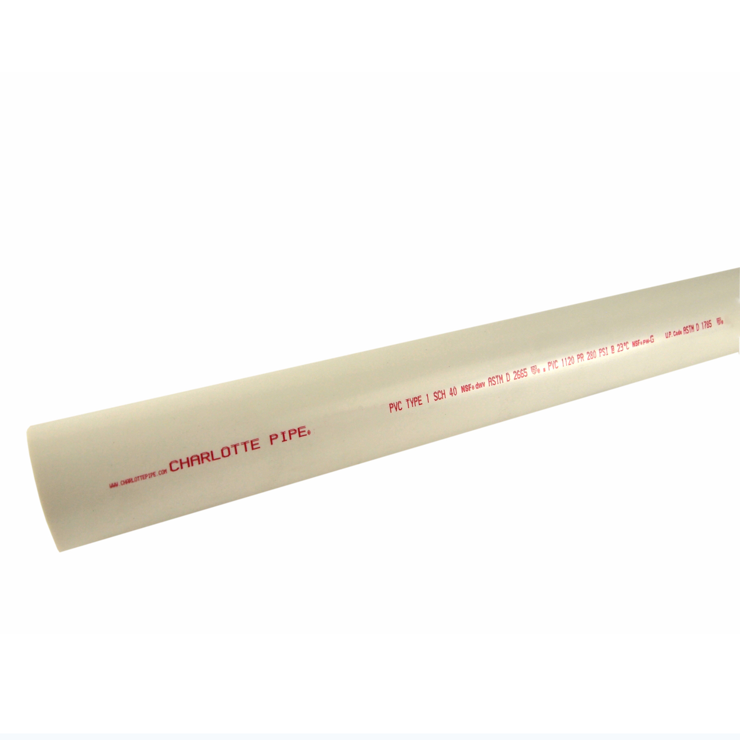 Charlotte Pipe  PVC Pipe  1-1/4 in. Dia. x 10 ft. L Plain End  Schedule 40  370 psi